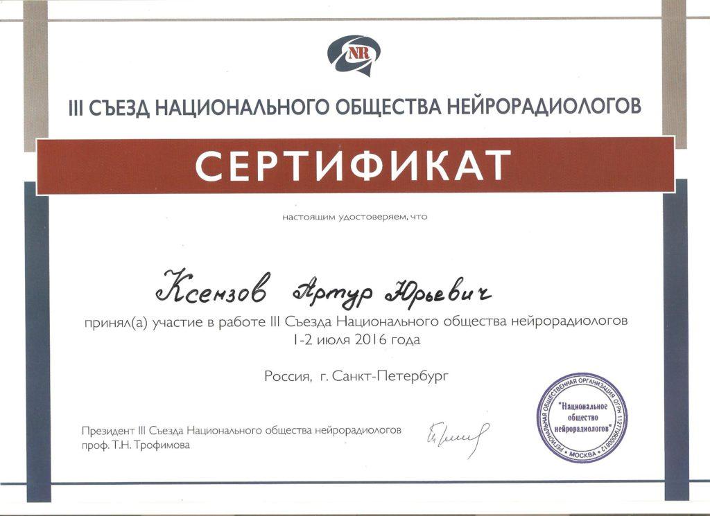 Ксензов Артур Юрьевич 1-2 июля 2016